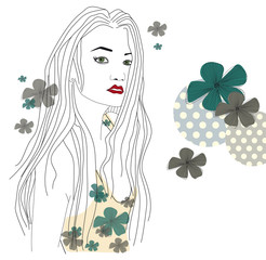 woman long hair and flowers