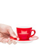 Hand serve red coffee cup