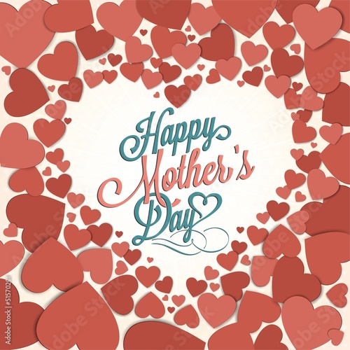 VIntage Happy Mothers's Day Typographical Background With Hearts