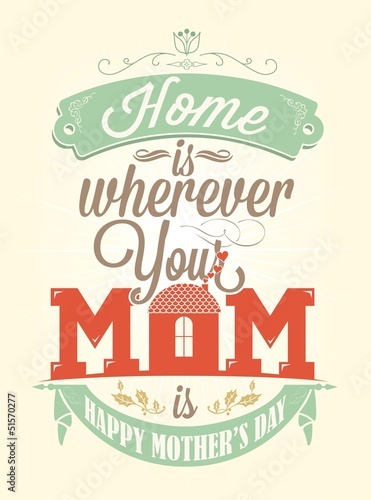 Vintage Happy Mother's Day Typographical Background