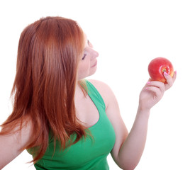 beautiful young girl with an apple