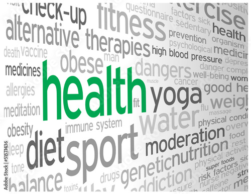 """""""HEALTH"""" Tag Cloud (medicine weight fitness healthy lifestyle)"""