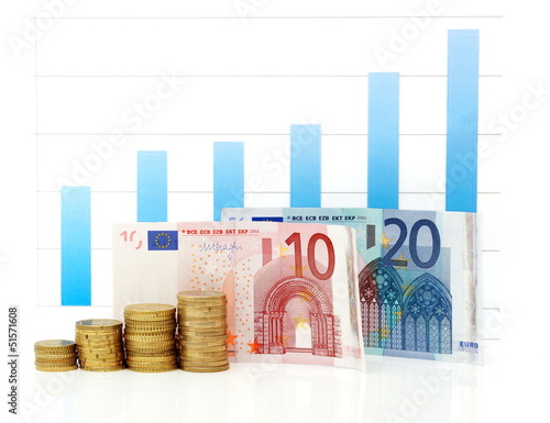 growing euro graph with banknotes and coins