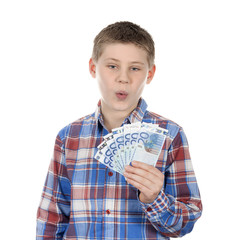 Cute boy with euro notes