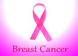 Pink breast cancer ribbon on white and pink background