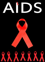 Aids awareness red ribbons isolated on black