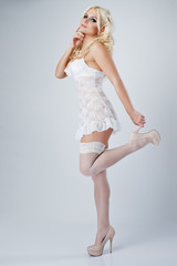 Sexy blonde in the sensory underwear