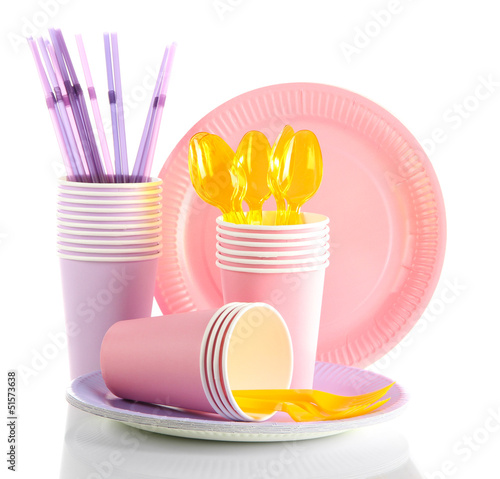 Multicolored plastic tableware isolated on white
