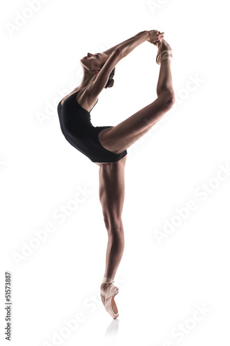 Foto op Canvas Dance School beautiful ballet dancer isolated