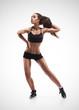 Fitness woman exercising dance class aerobics