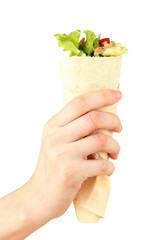 Hand holding kebab - grilled meat and vegetables, wrapped in