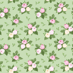 Vector seamless pattern with rose buds and leaves on green.