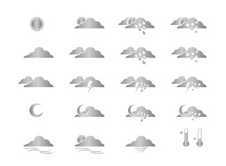 Picto icône météo gris métallisé