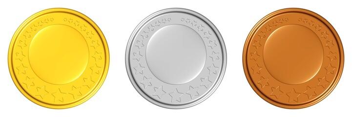 Medaillen/Münzen - Gold, Silber, Bronze - zum Ausbauen
