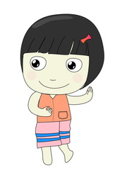 girl cartoon isolated on white background