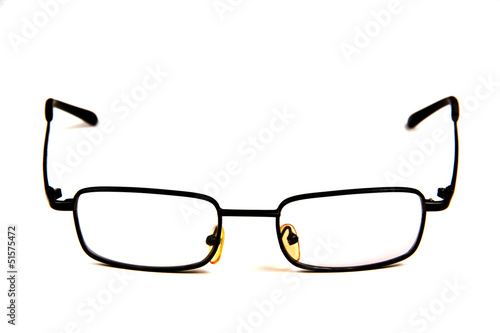 glasses with clear lenses.