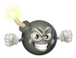Angry mean bomb cartoon mascot