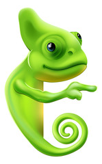 Cartoon chameleon pointing