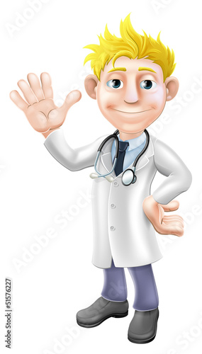 Cartoon doctor waving