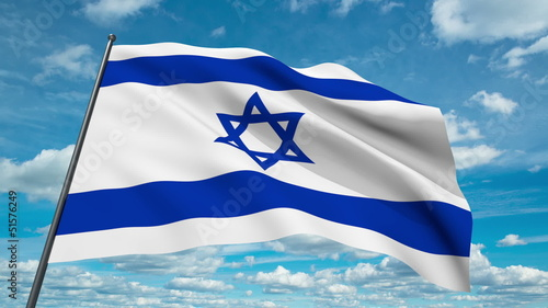 Israel flag waving against time-lapse clouds background