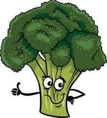 funny broccoli vegetable cartoon illustration