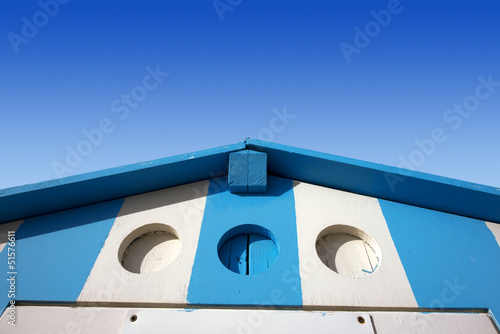 Blue and White Beach Hut