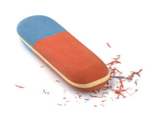Red and blue eraser