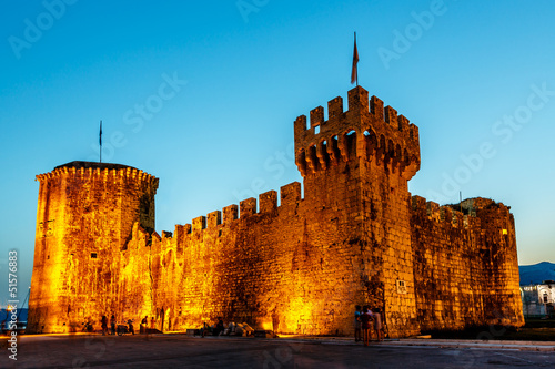 Medieval Castle of Kamerlengo in Trogir Illuminated in the Night