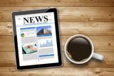 Fototapety Kaffeetasse mit Tablet Pc und News