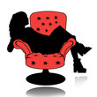 The girl in the chair. Retro.
