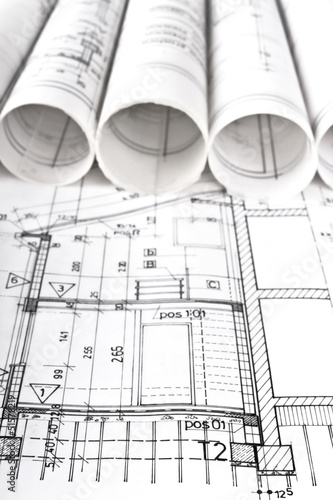 Architectural blueprint technical project drawings