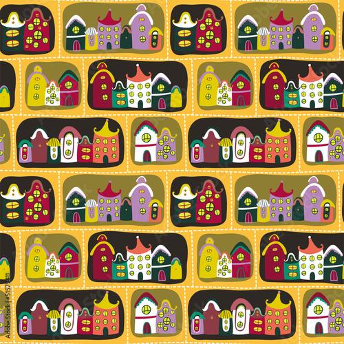 Foto op Plexiglas Op straat Colorful seamless pattern with road and cartoon houses