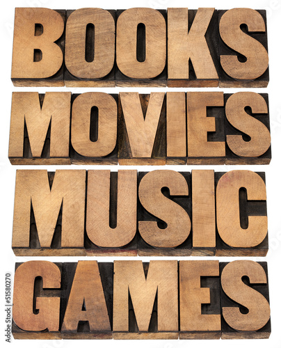 books, movies, music and games