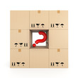 Cardboard box with red question mark