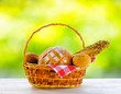 Fresh bread in the basket on natural background
