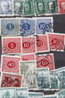 used postage stamps collection background