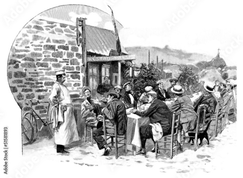 Sunday Scene : Rural Restaurant - 19th century