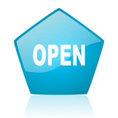 open blue pentagon web glossy icon