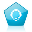 customer service blue pentagon web glossy icon