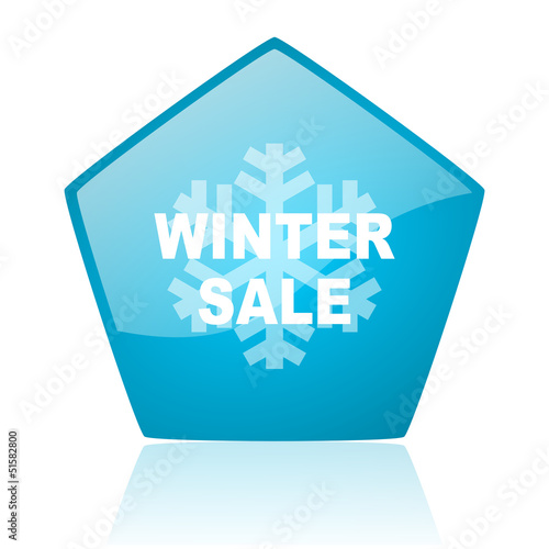 winter sale blue pentagon web glossy icon
