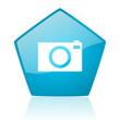 camera blue pentagon web glossy icon