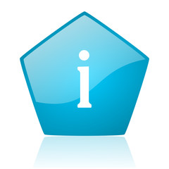 information blue pentagon web glossy icon