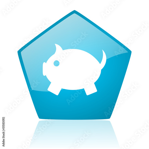piggy bank blue pentagon web glossy icon
