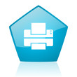 printer blue pentagon web glossy icon