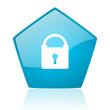 protect blue pentagon web glossy icon