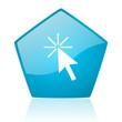 click here blue pentagon web glossy icon