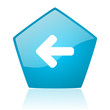 arrow left blue pentagon web glossy icon