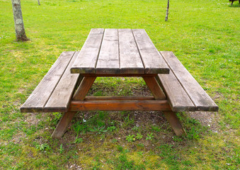 Table and benchs outdoors