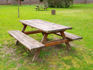 Table and benchs in a park