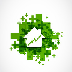 House prices rising positive business concept